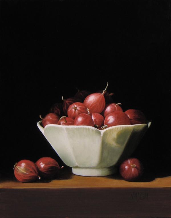Gooseberries in White Bowl